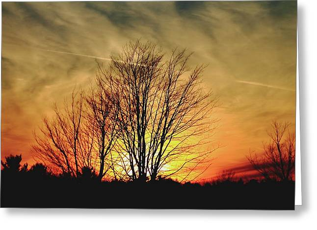 Greeting Card featuring the photograph Evening Fire by Bruce Patrick Smith