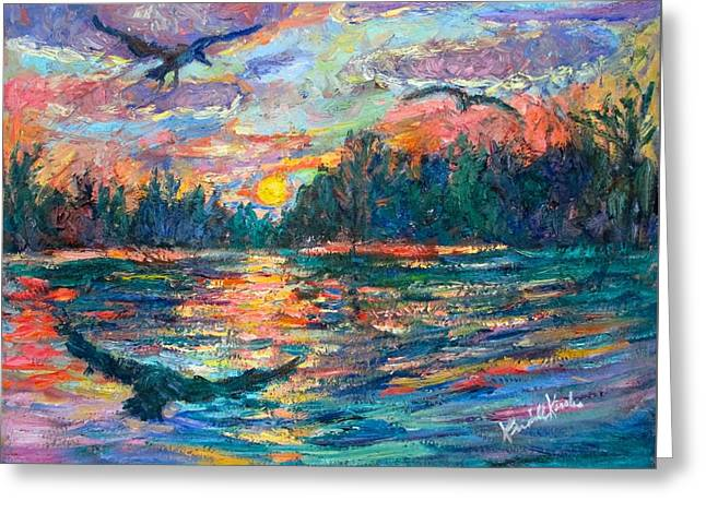 Greeting Card featuring the painting Evening Flight by Kendall Kessler