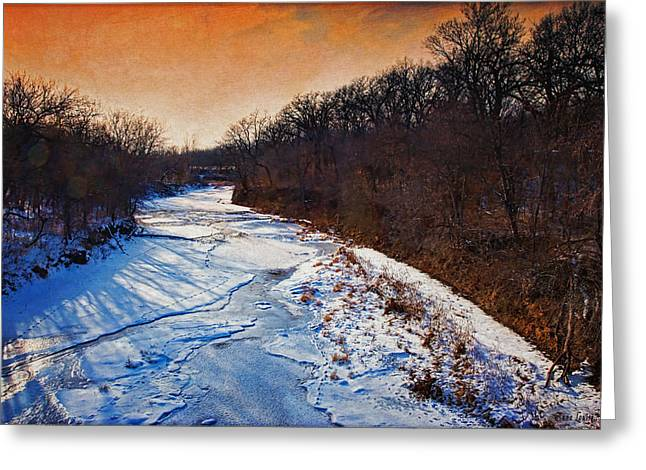 Evening Frozen Creek Greeting Card by Anna Louise