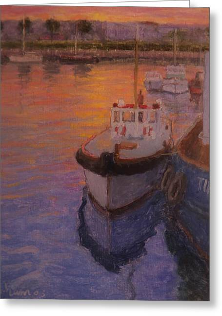 Evening Gisbourne Harbour Greeting Card by Terry Perham