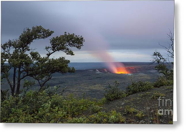 Greeting Card featuring the photograph Evening Glow At Halemaumau Crater by Charmian Vistaunet