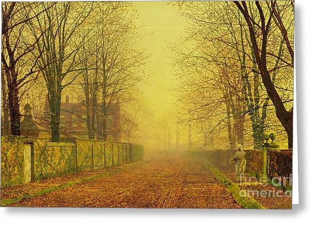 Evening Glow Greeting Card by John Atkinson Grimshaw