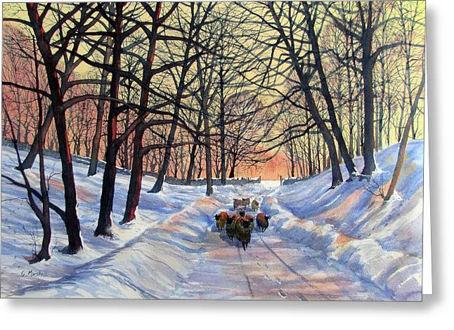 Evening Glow On A Winter Lane Greeting Card
