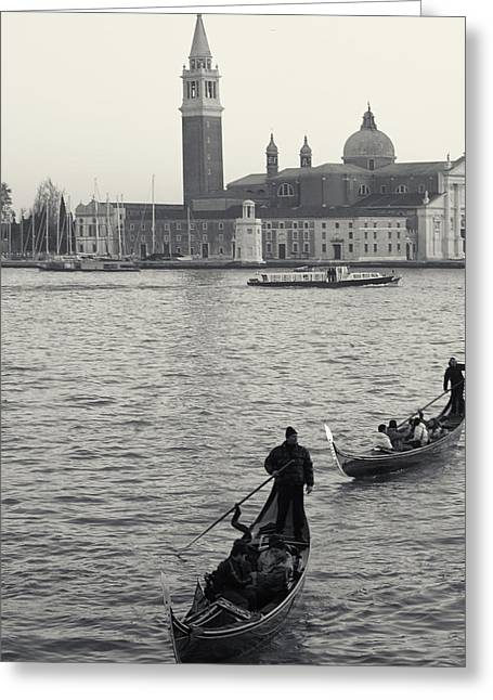 Evening Gondoliers, Venice, Italy Greeting Card by Richard Goodrich