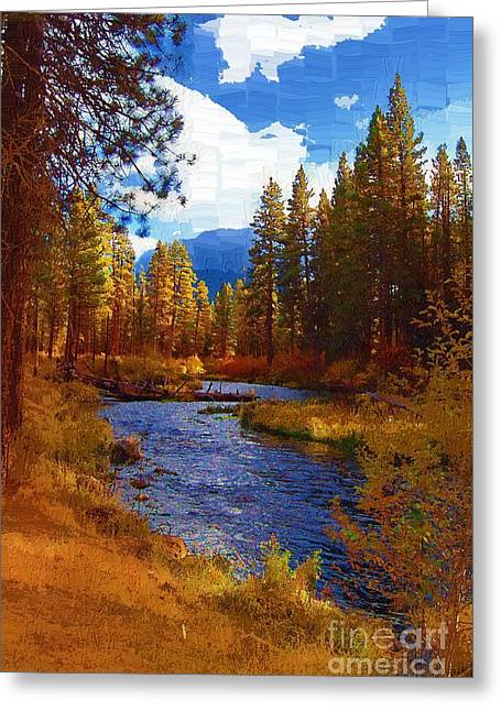 Evening Hatch On The Metolius River Painting 2 Greeting Card by Diane E Berry
