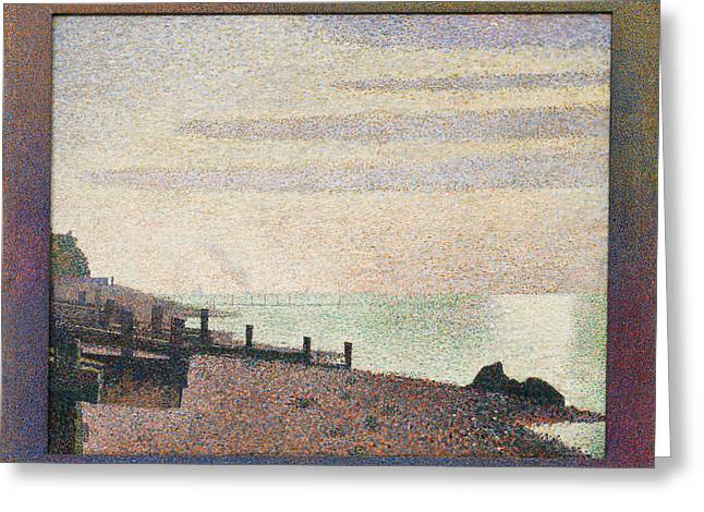 Evening, Honfleur Greeting Card by Georges Seurat
