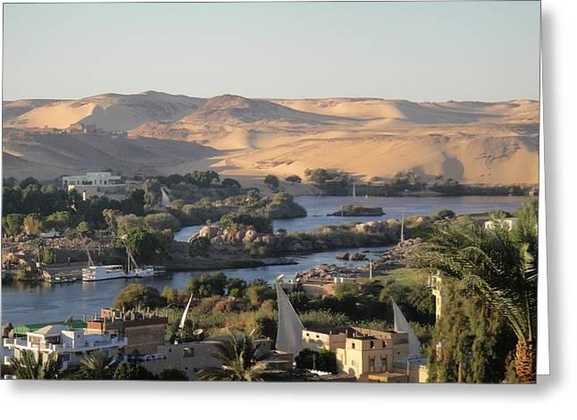 Hathor Greeting Cards - Evening in Aswan Greeting Card by Richard Deurer