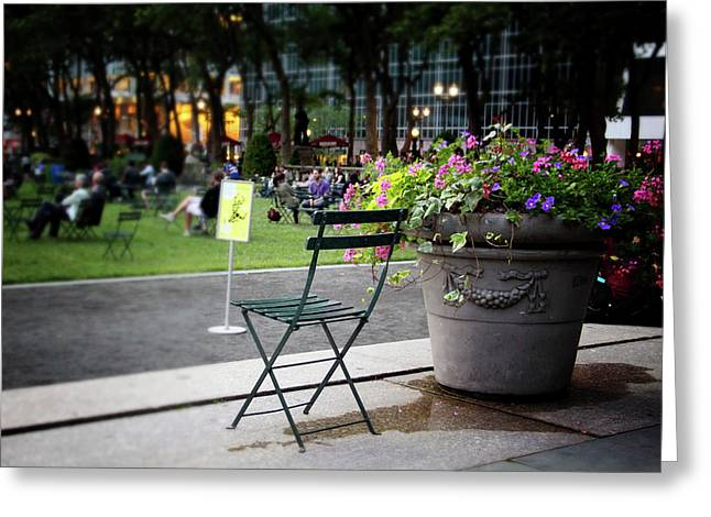 Evening In Bryant Park- Photography By Linda Woods Greeting Card by Linda Woods
