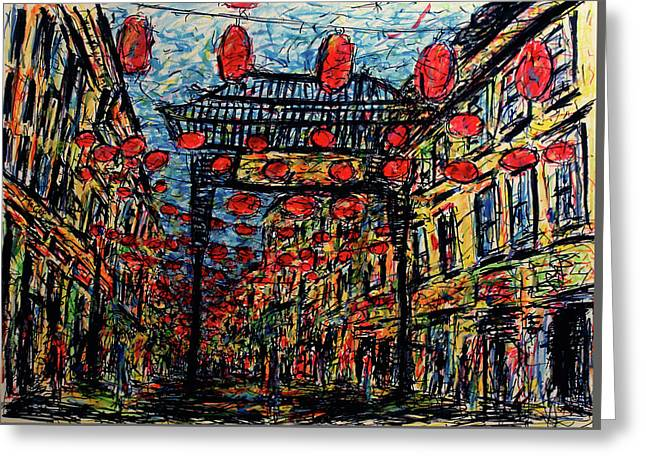 Evening In Chinatown, London Greeting Card by K McCoy