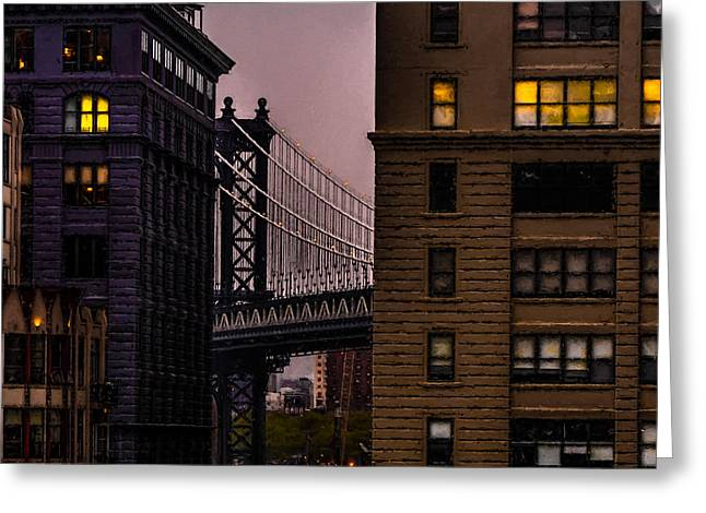Greeting Card featuring the photograph Evening In Dumbo by Chris Lord