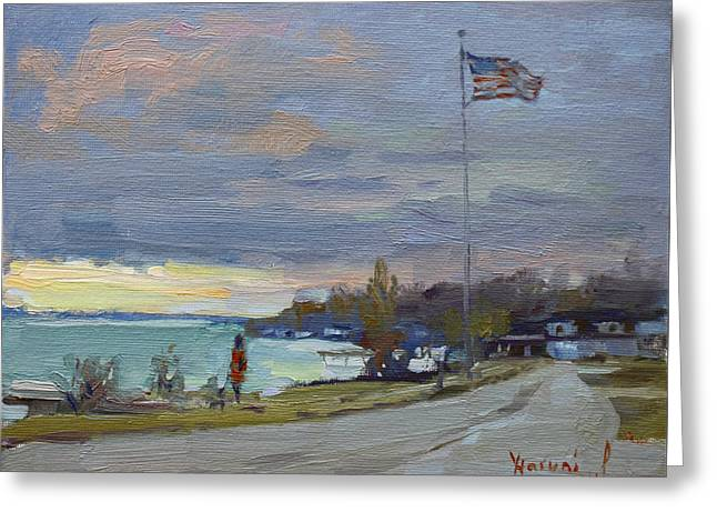 Evening In Gratwick Waterfront Park Greeting Card by Ylli Haruni