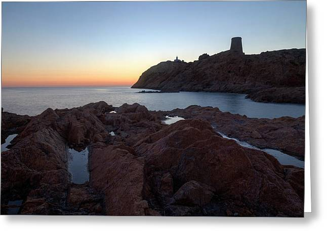 evening in L'Ile Rousse - Corsica Greeting Card