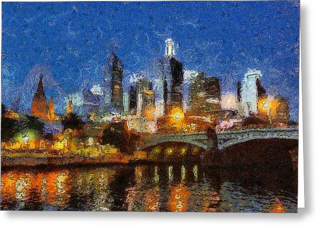 Evening In Melbourne Greeting Card