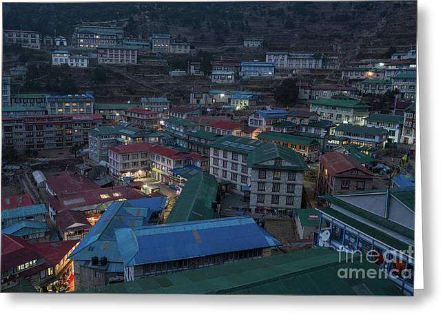 Greeting Card featuring the photograph Evening In Namche Nepal by Mike Reid