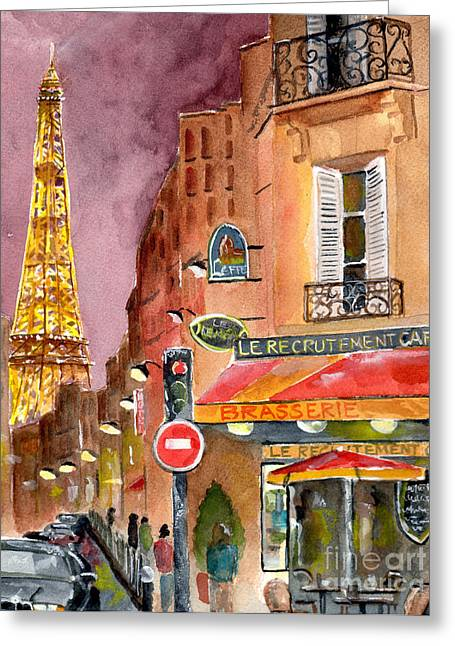 Evening Lights Paintings Greeting Cards - Evening in Paris Greeting Card by Sheryl Heatherly Hawkins