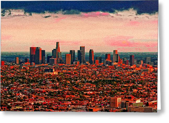 Evening In The City Of The Angels Greeting Card by Timothy Bulone