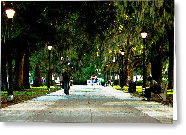 Evening In The Park Greeting Card