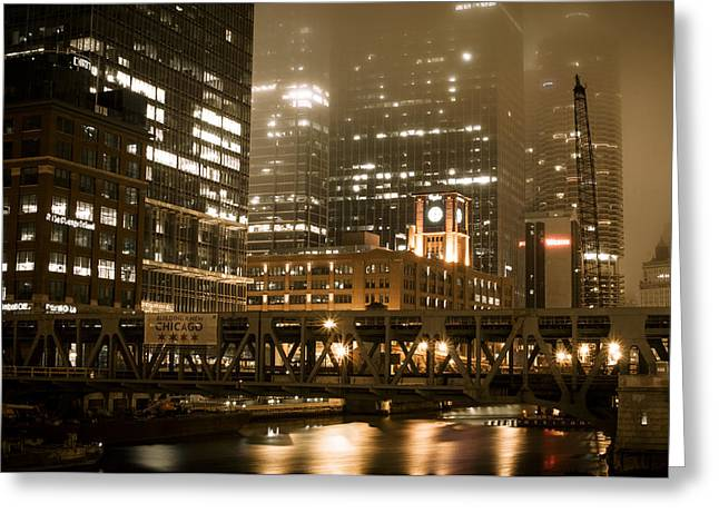Evening In The Windy City Greeting Card by Miguel Winterpacht