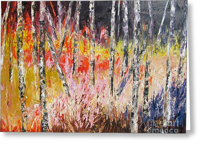 Evening In The Woods Pallet Knife Painting Greeting Card by Lisa Boyd
