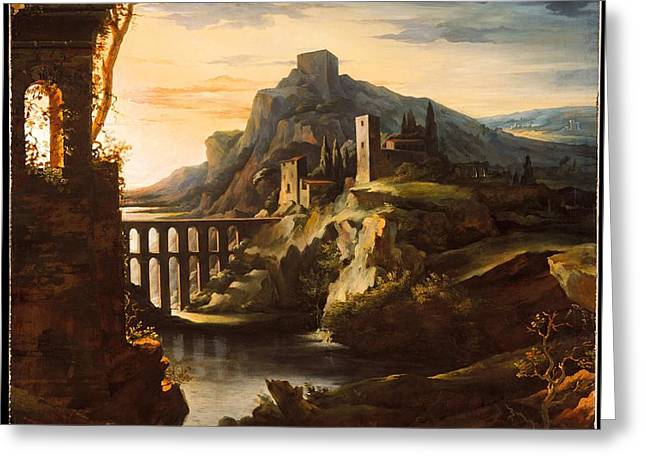 Evening Landscape With An Aqueduct Greeting Card by Celestial Images