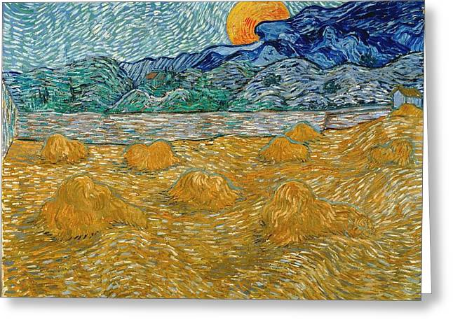Greeting Card featuring the painting Evening Landscape With Rising Moon by Van Gogh