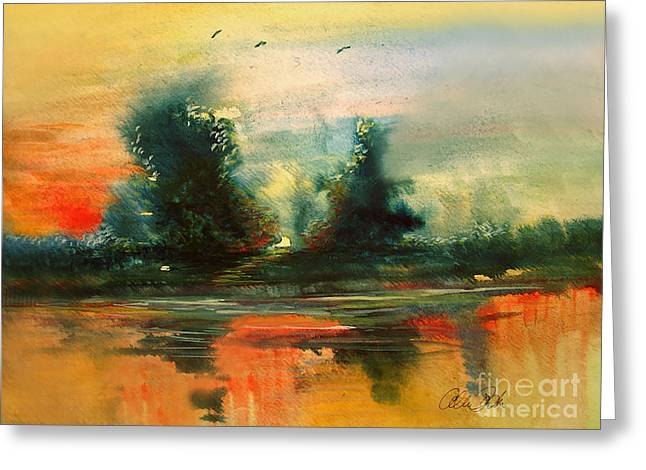 Greeting Card featuring the painting Evening Light by Allison Ashton