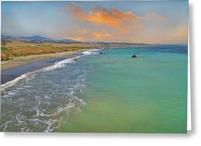 Evening Light Along The Shore Greeting Card