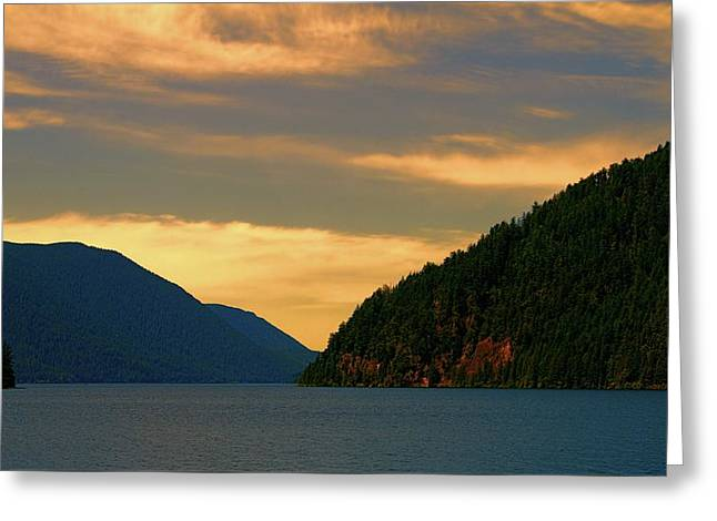 Evening Light At Lake Crescent Greeting Card by Dan Sproul
