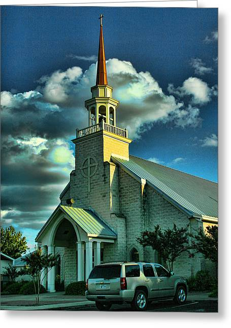 Rusted Cars Digital Art Greeting Cards - Evening Light on Church Greeting Card by Linda Phelps
