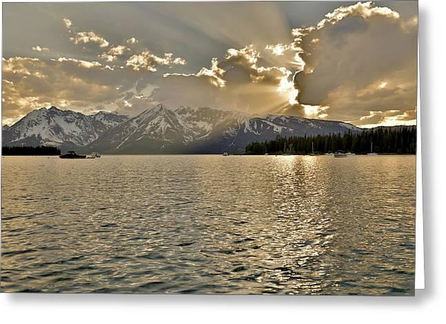 Evening Light On Jackson Lake Grand Teton  Greeting Card by Dan Sproul
