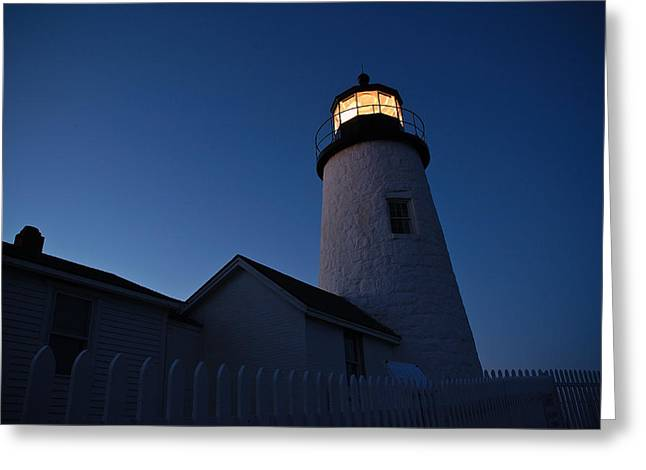 Evening Lighthouse Pemequid Point Me Greeting Card by Richard Danek