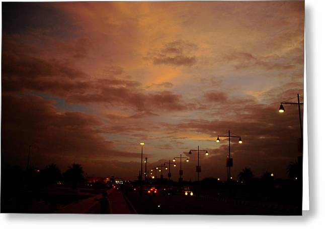 Evening Lights On Road Greeting Card