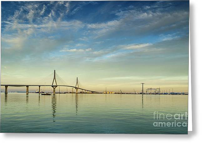 Evening Lights On The Bay Cadiz Spain Greeting Card