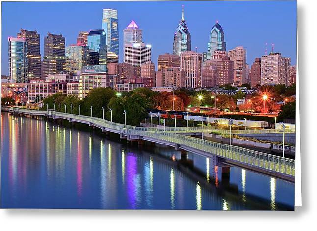 Greeting Card featuring the photograph Evening Lights On The Delaware by Frozen in Time Fine Art Photography