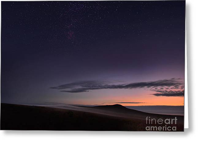 Evening Mist Rising On The Cronk Greeting Card