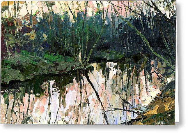 Greeting Card featuring the painting Evening On A Spring River by Sergey Zhiboedov