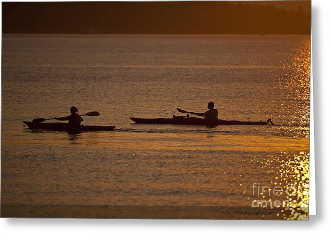 Evening On The Water Greeting Card by Mike Reid