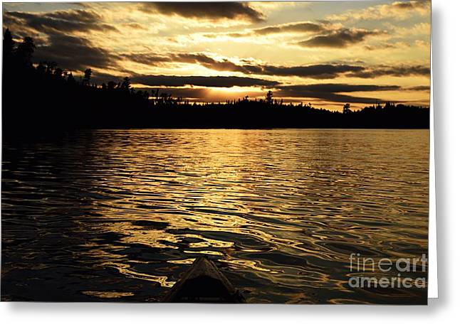 Greeting Card featuring the photograph Evening Paddle On Amoeber Lake by Larry Ricker