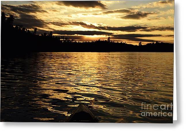 Evening Paddle On Amoeber Lake Greeting Card
