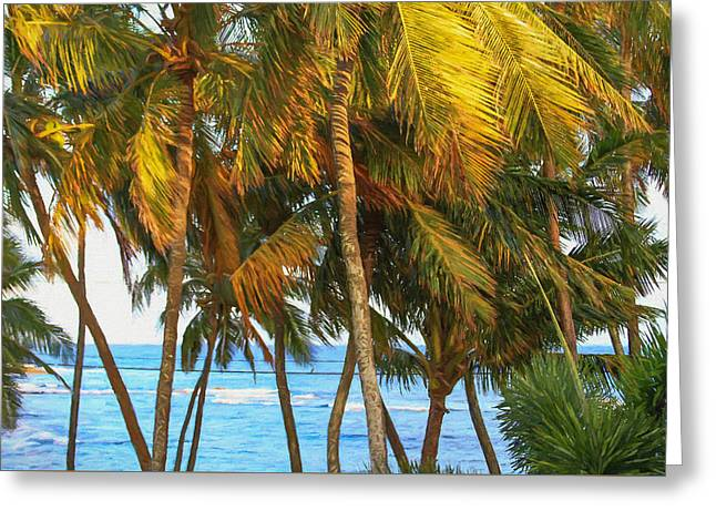 Evening Palms In Trade Winds Greeting Card by Bonnie Follett