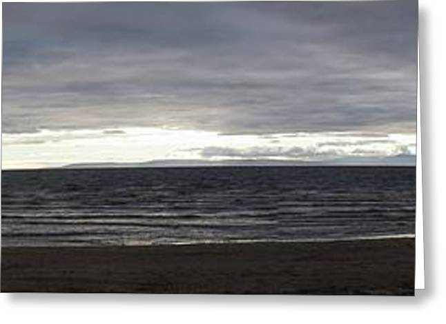 Evening Panoramic Ayr Beach, Scotland Greeting Card