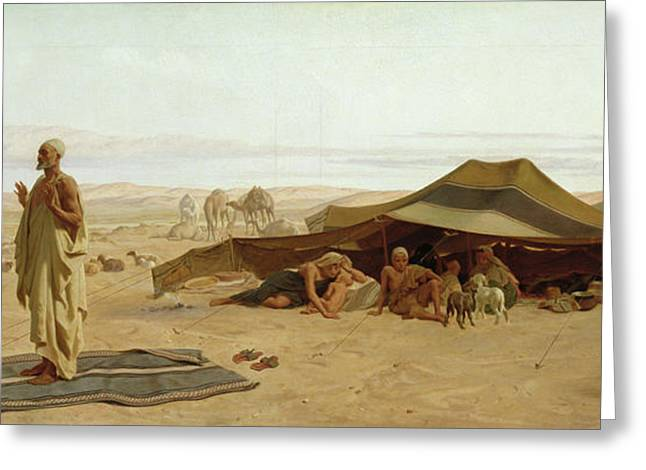 Nomads Greeting Cards - Evening Prayer in the West Greeting Card by Frederick Goodall