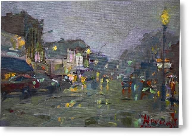 Evening Rain At Webster St Greeting Card