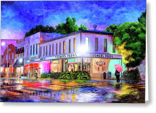 Evening Rain In Auburn Greeting Card
