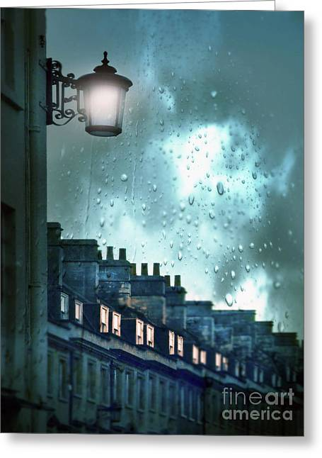Greeting Card featuring the photograph Evening Rainstorm In The City by Jill Battaglia