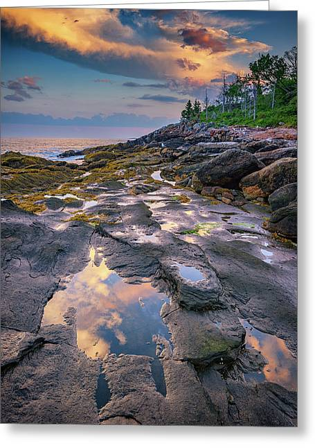Evening Reflection, Bristol, Maine Greeting Card by Rick Berk