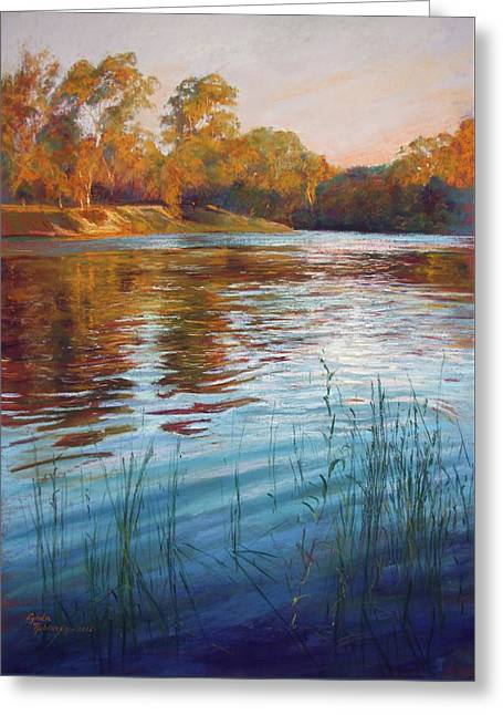 Evening Reflections, Goulburn River Greeting Card by Lynda Robinson