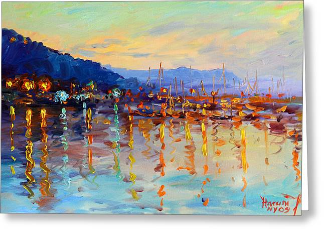 Evening Reflections In Piermont Dock Greeting Card by Ylli Haruni