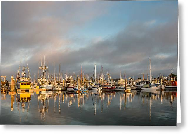 Evening Reflections On Woodley Island Marina Greeting Card by Greg Nyquist
