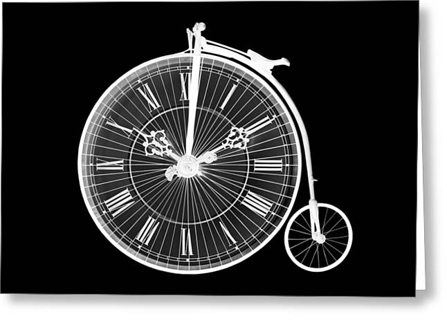 Evening Ride Penny Farthing On Black Greeting Card